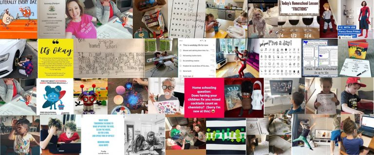 Home schooling image collage